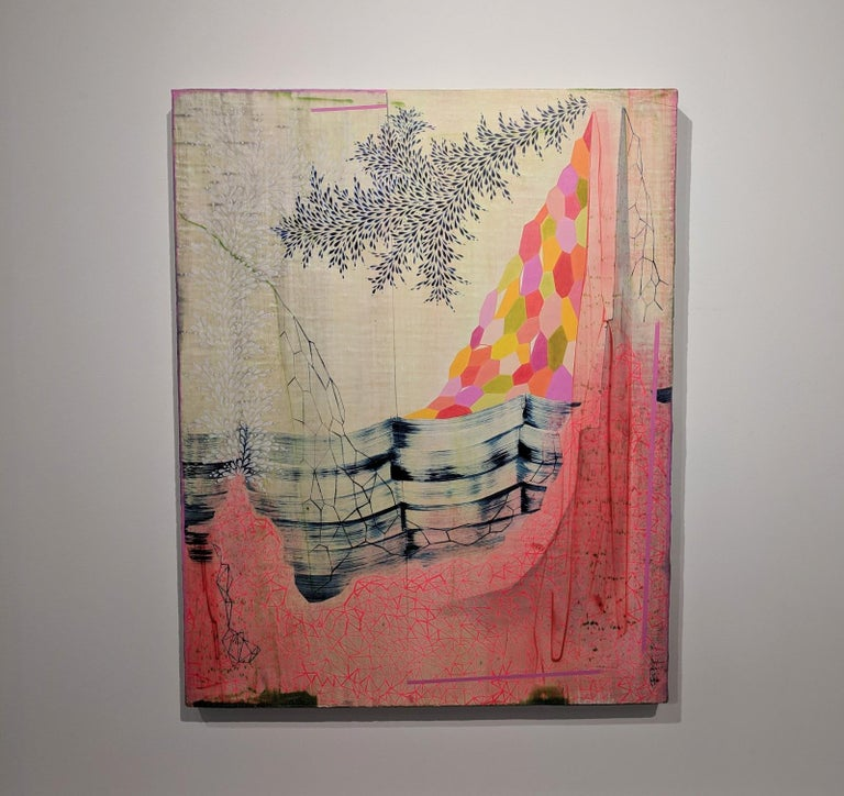 Neon Mountain, Vertical Abstract Landscape in Bright Pink, Orange, Red, and Blue - Painting by Gabe Brown