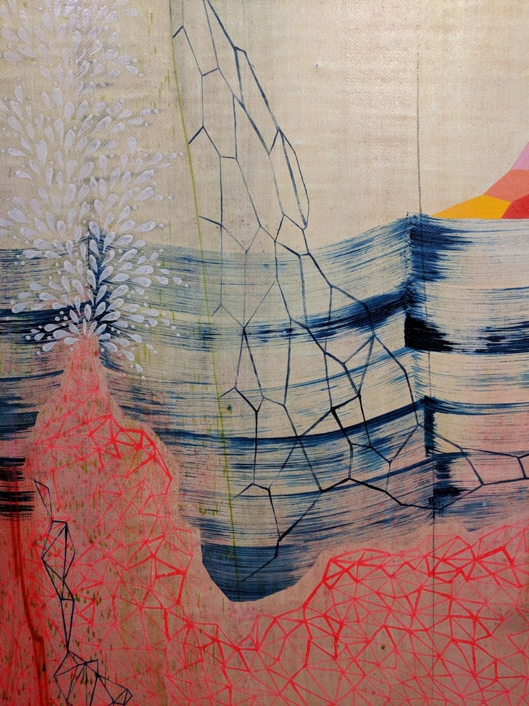 Neon Mountain, Vertical Abstract Landscape in Bright Pink, Orange, Red, and Blue - Gray Abstract Painting by Gabe Brown
