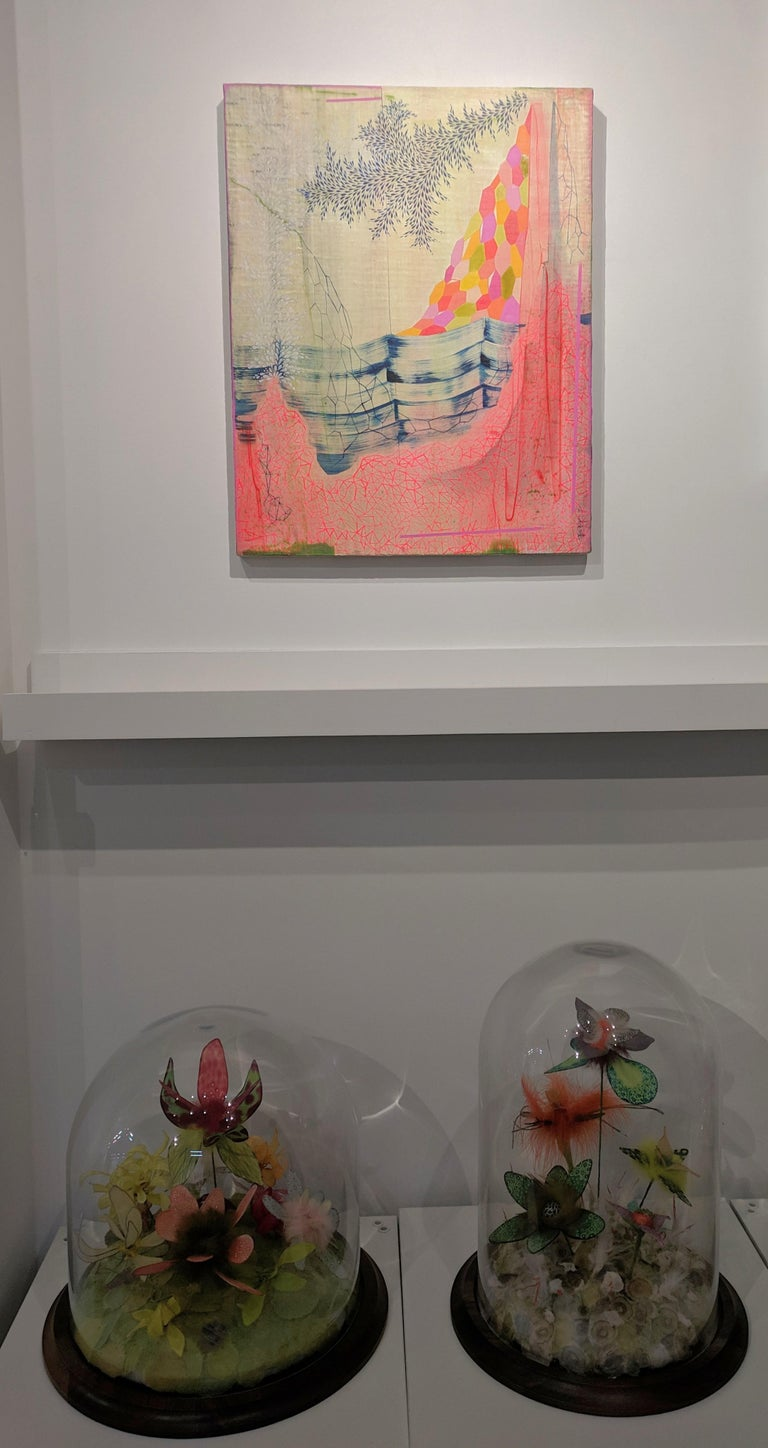 Neon Mountain, Vertical Abstract Landscape in Bright Pink, Orange, Red, and Blue - Contemporary Painting by Gabe Brown