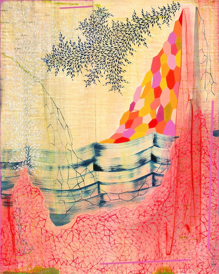 Gabe Brown Abstract Painting - Neon Mountain, Vertical Abstract Landscape in Bright Pink, Orange, Red, and Blue