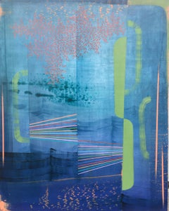 Reflection, Abstract Painting in Light Green, Pale Peach, Violet, Cobalt Blue