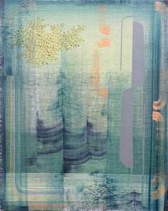 Solitude, Abstract Painting in Light Blue Green, Peach, Ochre, Gray