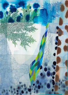 Untitled 436, Vertical Abstract Landscape with Blue, Green, Brown Patterns
