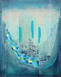 Water Diaries, Abstract Painting in Teal Blue, Indigo, Light Green, Peach
