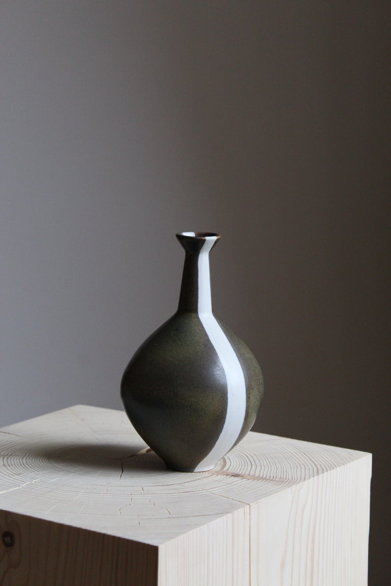Mid-Century Modern Gabi Citron Tengborg, Vase, Glazed and Painted Stoneware, Gustavsberg, 1960s For Sale