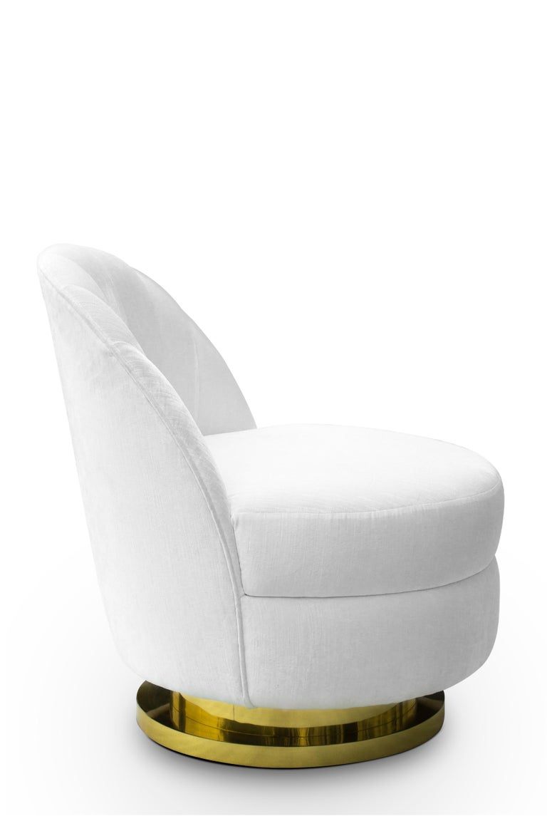 Groovy Gable Single Sofa In White Velvet With Brass Base Pabps2019 Chair Design Images Pabps2019Com
