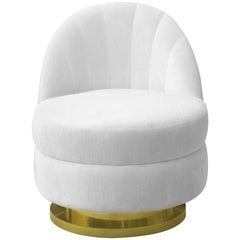 Gable Single Sofa in White Velvet with Brass Base