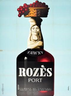 Original Vintage Drink Advertising Poster Tawny Rozes Port Wine Portugal Oporto