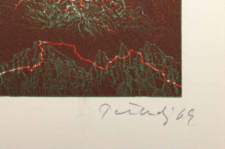 Hawaii, Abstract Etching by Gabor Peterdi - Brown Abstract Print by Gabor F. Peterdi