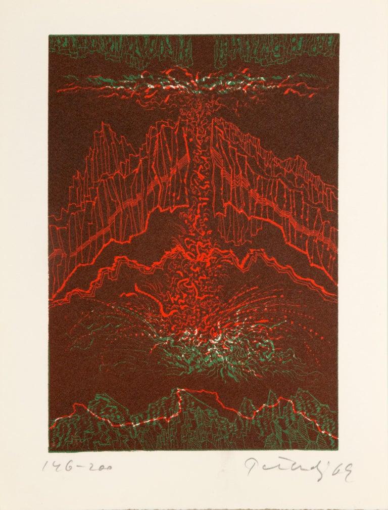 Gabor F. Peterdi Abstract Print - Hawaii, Abstract Etching by Gabor Peterdi