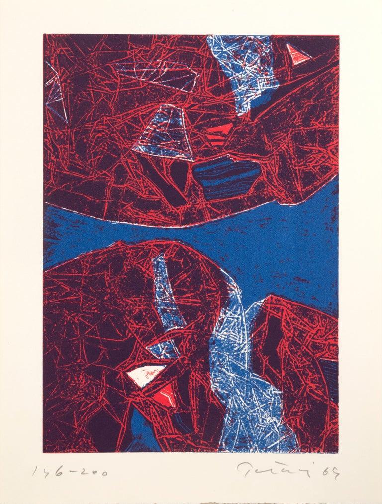 Gabor F. Peterdi Landscape Print - Mauna Loa II, Abstract Etching by Gabor Peterdi