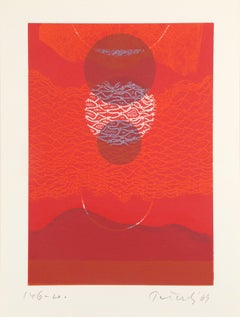 Red Eclipse II, Abstract Etching by Gabor Peterdi