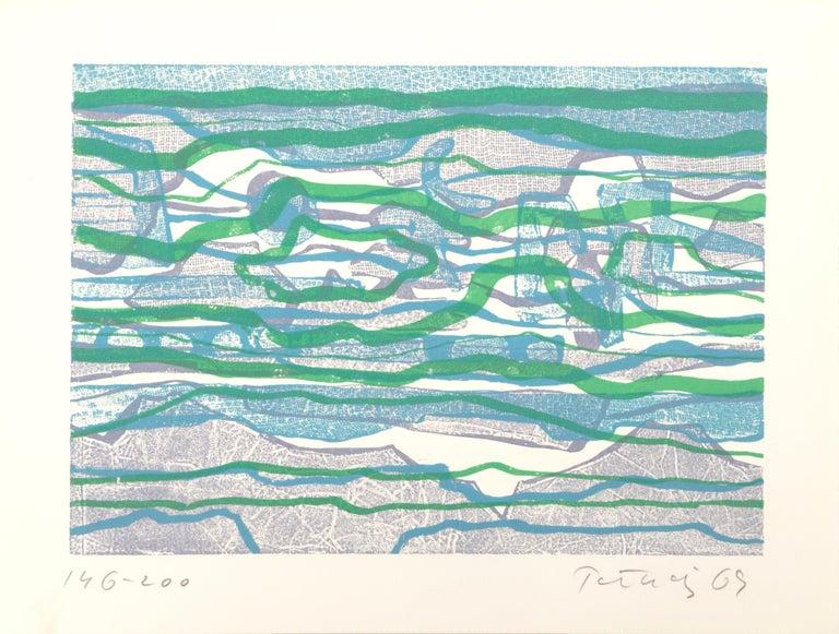 Gabor F. Peterdi Landscape Print - The Reef, Abstract Etching by Gabor Peterdi