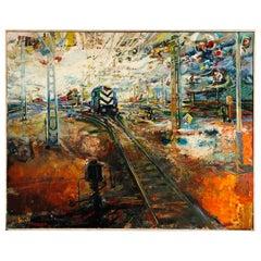 "Gabor Szinte ""Locomotive at Dawn"" 1960s"