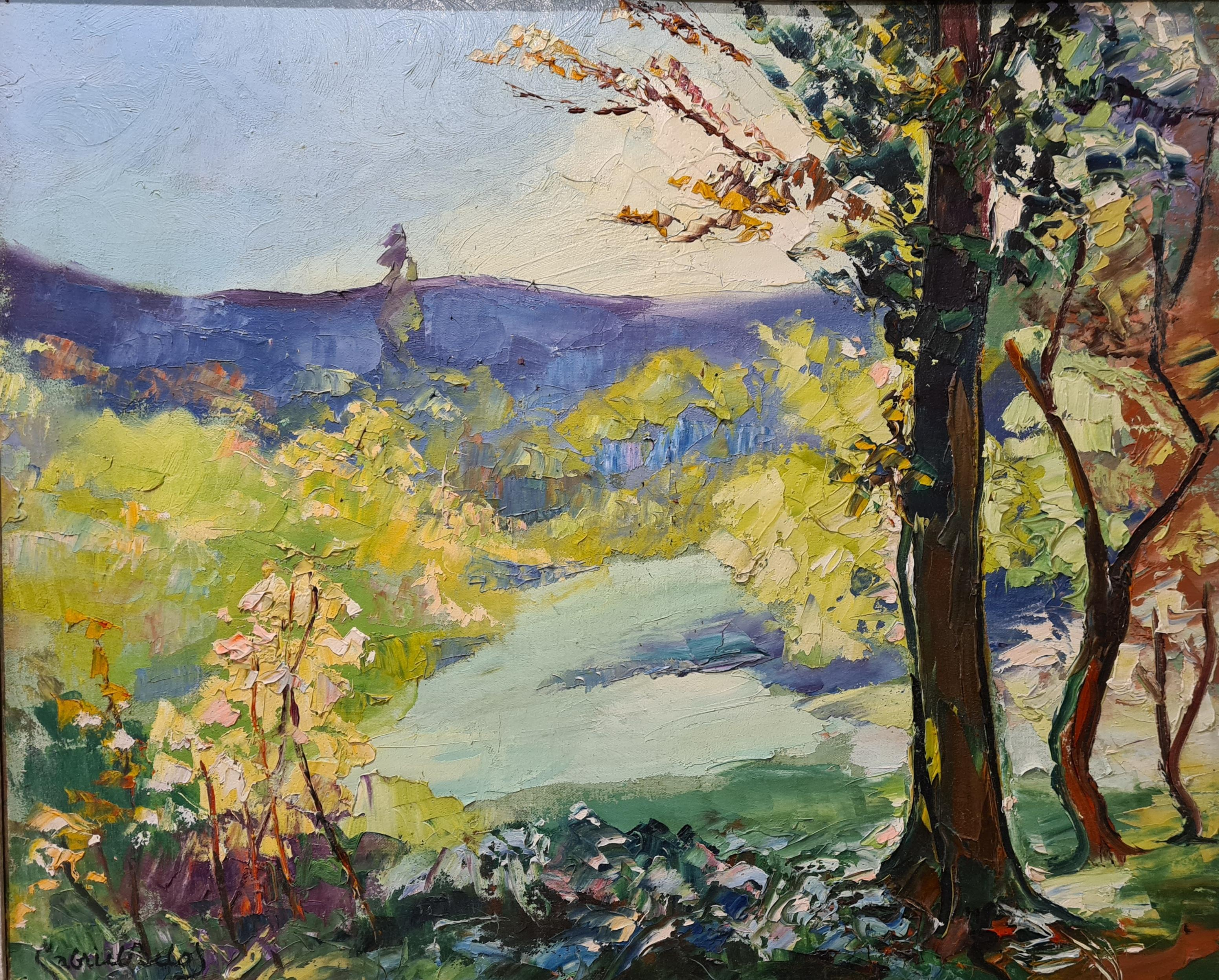 Pastoral Scene, Early 20th Century Fauvist Oil on Canvas.