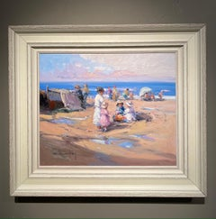 'A Moment in Time' Contemporary Beach Landscape Painting with Figures, children