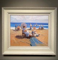'Creating Memories' Contemporary Impressionist beach landscape of figures, sea