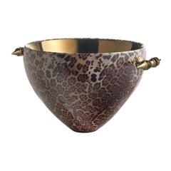 Gabriel, Ceramic Bowl Leopard Decorated, Handcrafted in Bronze by Gabriella B