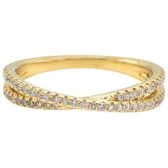 Gabriel & Co. 14 Karat Yellow Gold Crossover Stackable Diamond Band Ring