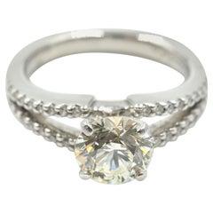 """Gabriel & Co"" 1.51 Carat Round Brilliant Diamond Ring 14 Karat White Gold"