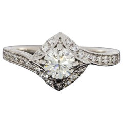 Gabriel & Co. Amavida White Gold 0.91 Carat Round Diamond Halo Engagement Ring