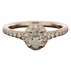Gabriel & Co Fleming Rose Gold 0.92 Carat Oval Diamond Halo Engagement Ring