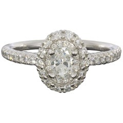 Gabriel & Co. White Gold 1.01 Carat Oval Diamond Double Halo Engagement Ring