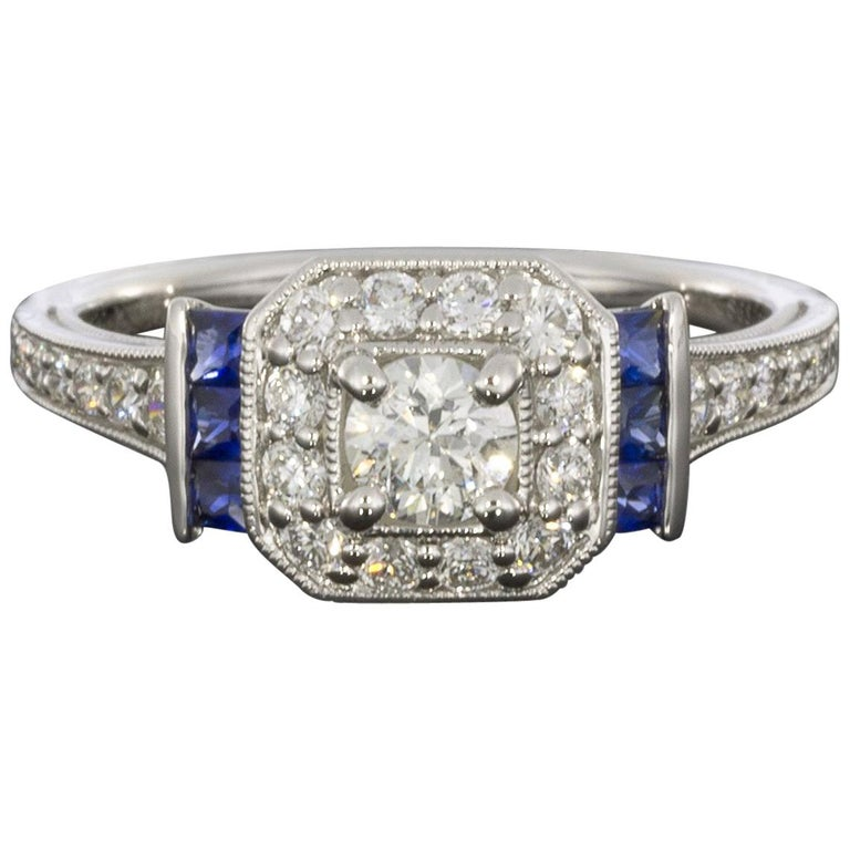 34974bd2239fb Gabriel & Co White Gold Diamond and Sapphire Deco Halo Engagement Ring