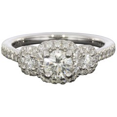 Gabriel & Co. White Gold Round Diamond Three-Stone Halo Engagement Ring