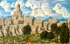 Large Israeli Naive Art Screen Enamel Oil Painting Jerusalem Old City Folk Art