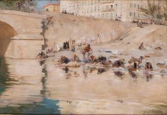 A stunning French Impressionist painting, washerwomen by a river, pastel colours