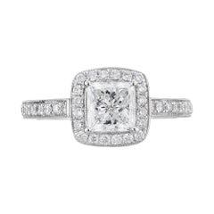 Gabriel GIA Certified 1.00 Carat Diamond Halo White Gold Engagement Ring