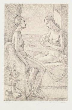 Maternity -  Original Etching by G. Girardi - 1971