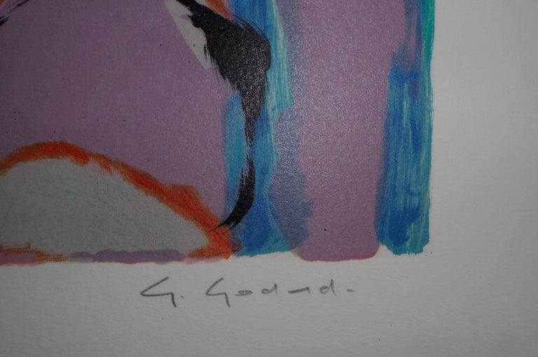 Abstract landscape - Original lithograph, Handsigned - Print by Gabriel Godard