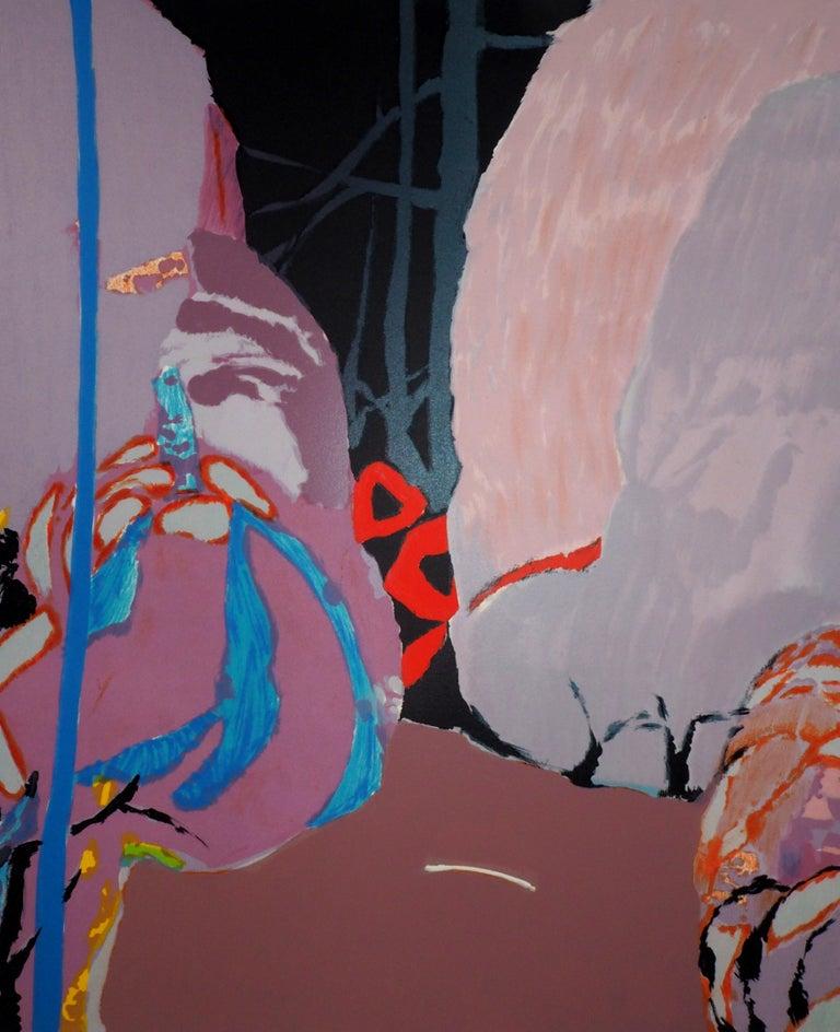 Abstract landscape - Original lithograph, Handsigned For Sale 1