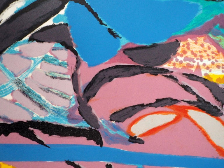 Abstract landscape - Original lithograph, Handsigned For Sale 3