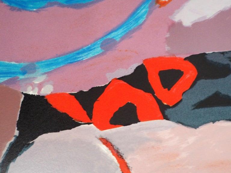 Abstract landscape - Original lithograph, Handsigned For Sale 5