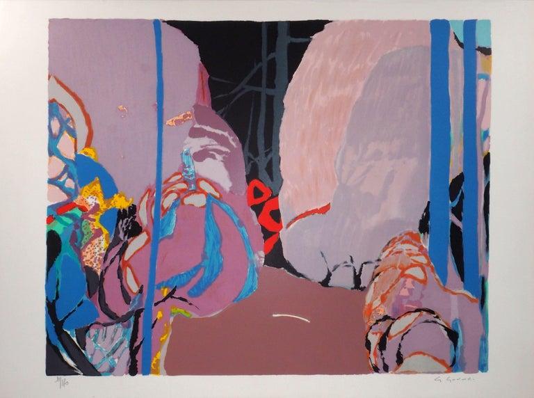 Gabriel Godard Abstract Print - Abstract landscape - Original lithograph, Handsigned