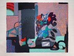Cubist Still Life - Original lithograph, Handsigned