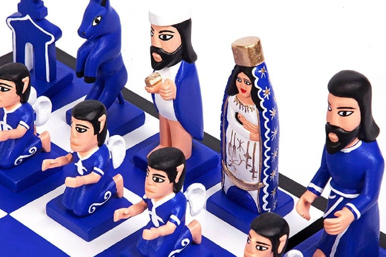 Ajedrez Nacimiento / Wood carving Mexican Sculpture Folk Art Chess Nativity For Sale 3