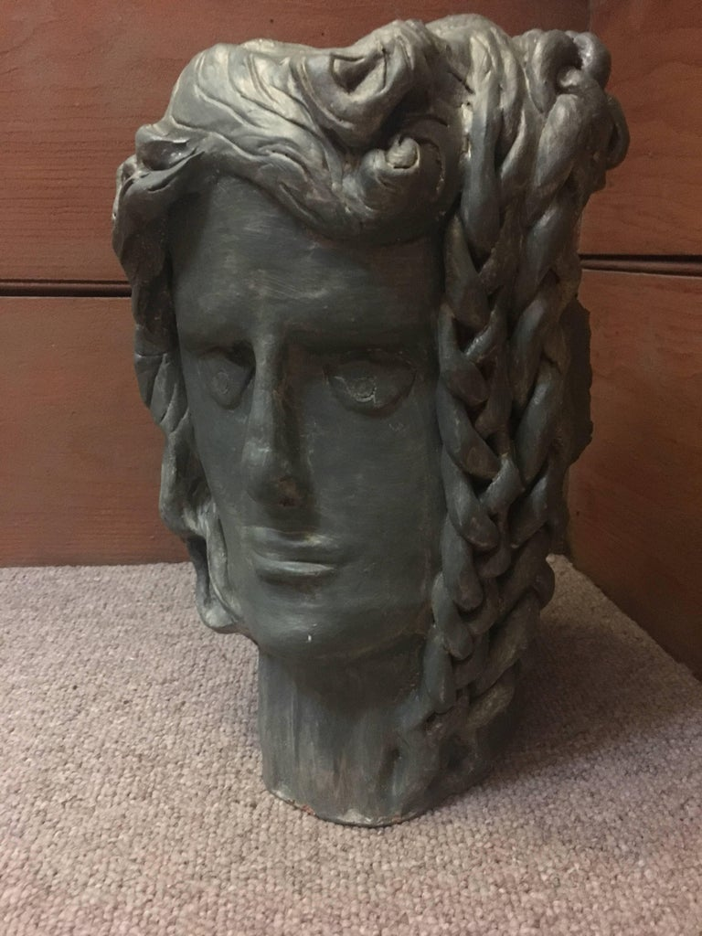Head Sculpture, Double Sided, One side Frowning, One side with a Plait For Sale 1