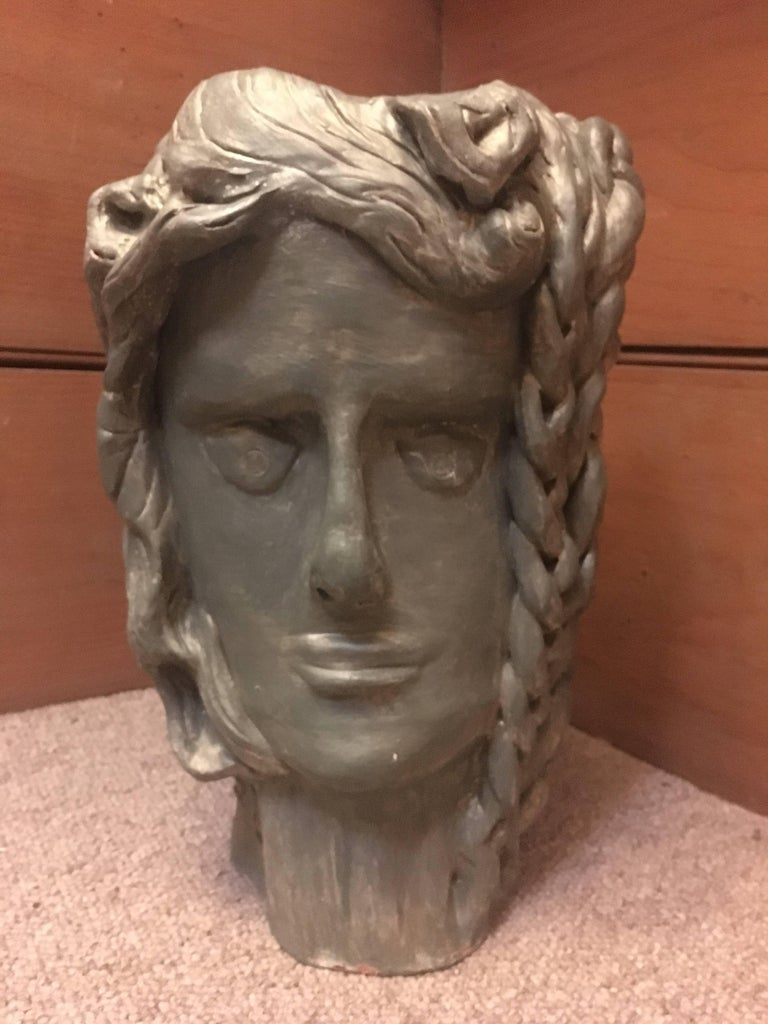 Head Sculpture, Double Sided, One side Frowning, One side with a Plait For Sale 2