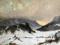 Sunset at Chamoix - The Alps - 19th Century Oil, Mountain Landscape by G Loppe