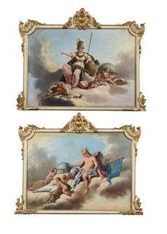 18th Century Gabriel Blanchet Allegory of Arts and Commerce Oil on Canvas Blue