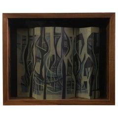Gabriel Macotela Acrylic on Cardboard Painting on Wood Showcase