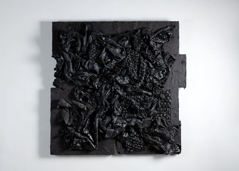 Gabriel Shuldiner, Data[t]Rash, Black Painting, United States, 2015 In Good Condition For Sale In New York, NY