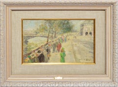 Antique Impressionist Paris Street View Oil Painting by Gabriel Spat