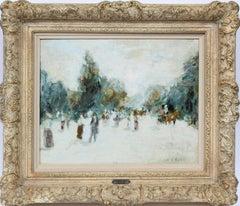 Antique Impressionist Paris Street View Park Figure Oil Painting by Gabriel Spat