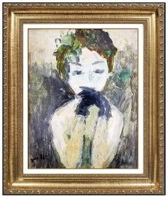 Gabriel Spat Original Oil Painting on Canvas Board Signed Female Portrait Art