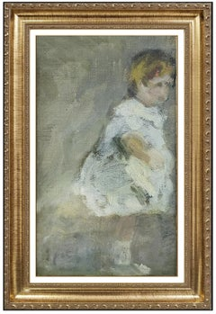 Gabriel Spat Original Painting Oil on Canvas Board Signed Child Portrait Artwork